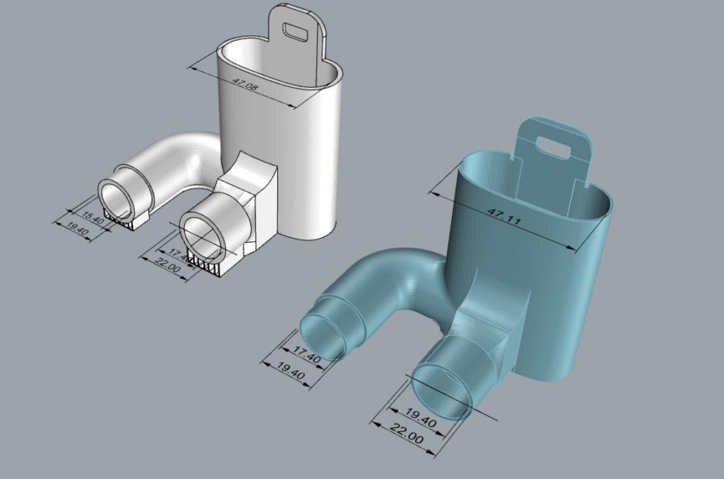file di progetto disegno stampa 3d valvole di raccordo per maschere della Decathlon