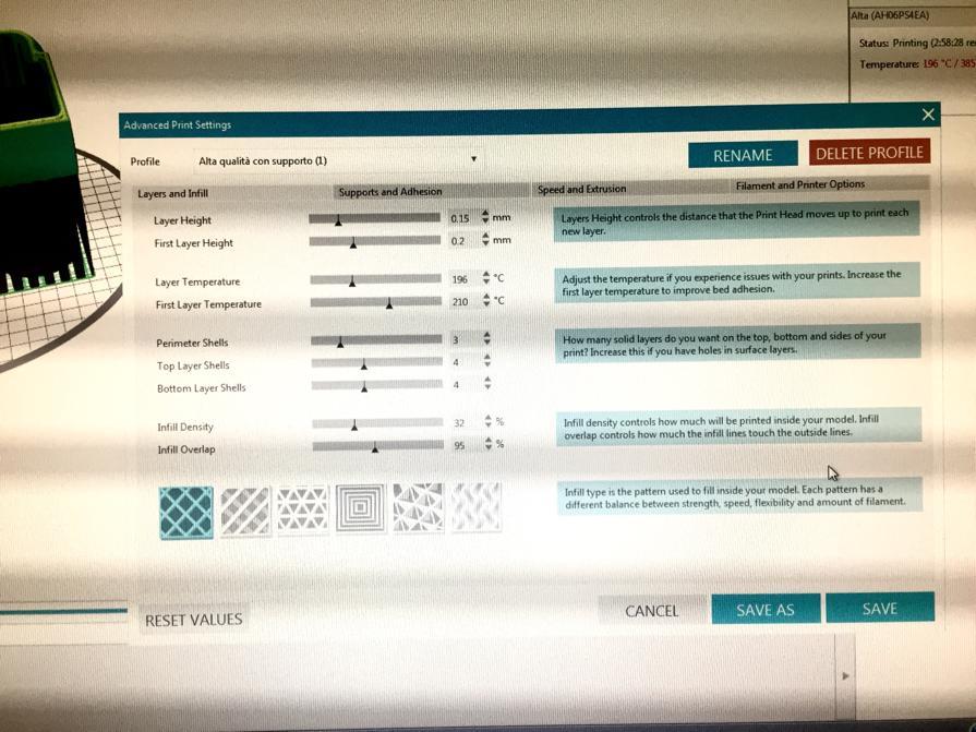 schermate di impostazioni per stampa 3d valvole di raccordo per maschere della Decathlon