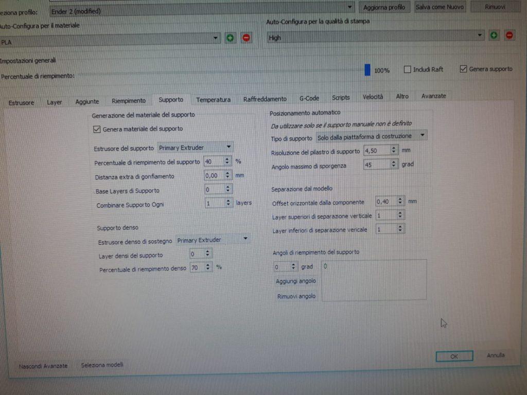 schermate di settaggi della stampante 3d valvole di raccordo per maschere della Decathlon